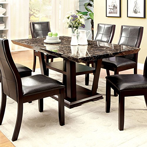 Snider Modern Style Dark Cherry Finish 7-Piece Dining Table Set