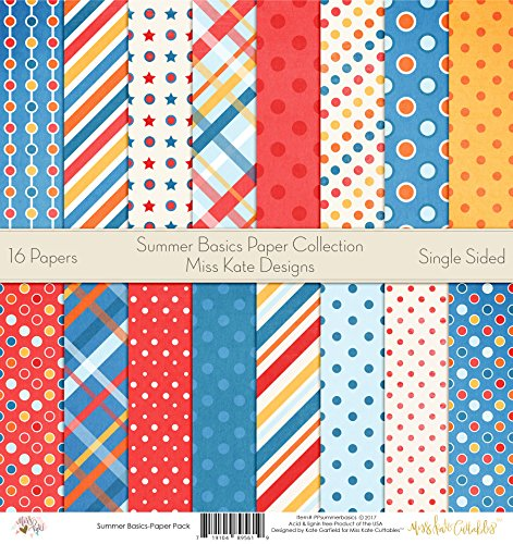 - Pattern Paper Pack - Summer Basics - Scrapbook Premium Specialty Paper Single-Sided 12