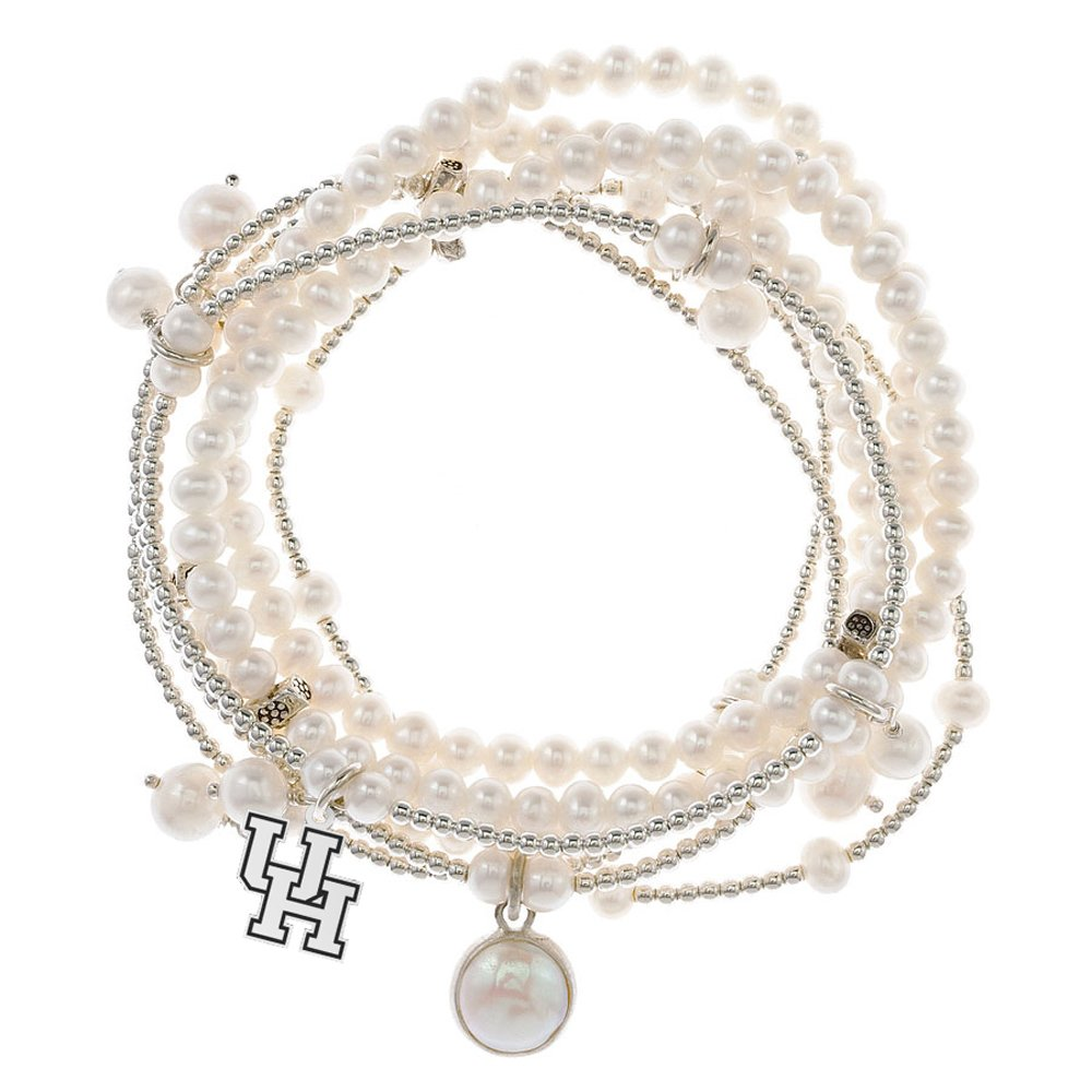 Houston Cougars 7 Strand Freshwater Pearl and Silver Bracelet