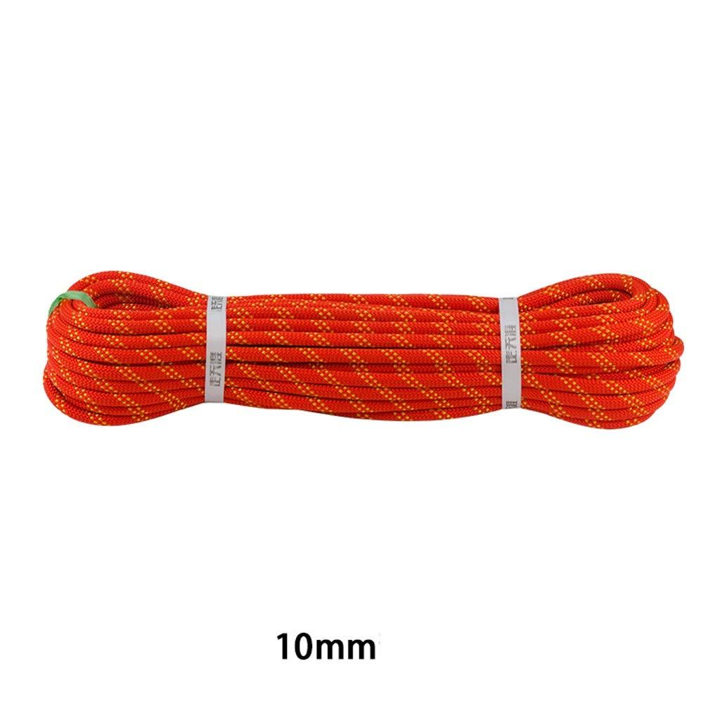 Orange-10mm GVNCO 3 Couleurs Corde d'escalade, Sauvetage en Extérieur Parachute Corde d'intérieur Statique Doux et Résistant à l'usure, Diamètre 9mm 10mm 50m
