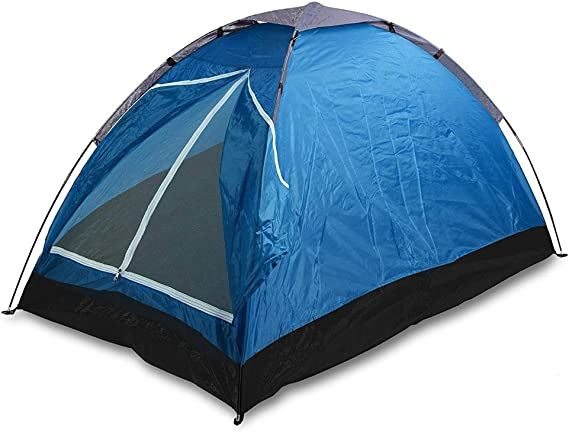 Bakaji cortina de camping 2 plazas persona impermeable Canadiense Camping con Doble Entrada a cremallera Mosquitera estructura con varillas flexibles y funda de bolsa dimensiones 200 x 100 x 110 bolsa Rojo,