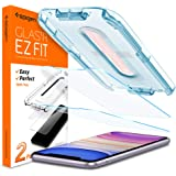 Spigen, 2 Pack, iPhone 11 Tempered Glass Screen Protector/iPhone XR Screen Protector, EZ FIT, Installation Kit Included, Case Friendly, Face ID Compatible, iPhone 11 Screen Guard, iPhone XR