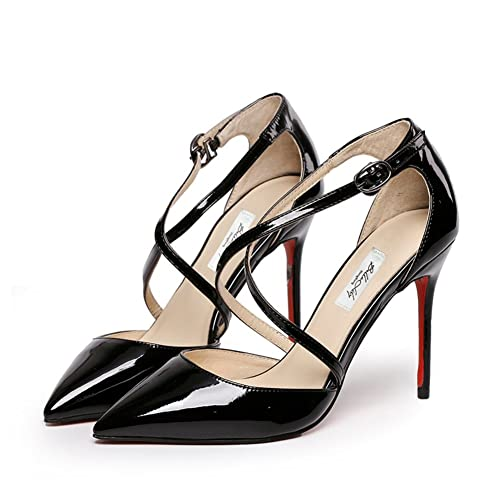 7e748776365 Red bottom shoes/Pointed strappy Sandals/Leather shoes/Nude black ...