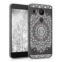 kwmobile Crystal Case Cover for LG Google Nexus 5X IMD design and TPU silicone frame with synthetic back - transparent soft Design flower