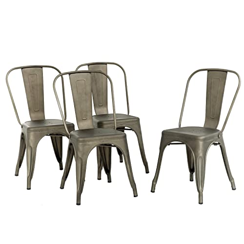 Metal Chair Dining Chair Set of 4 Patio Chair Home Kitchen Chair 18 Inch Seat Height Dinning Room Chair Stackable Metal Bar Chairs Indoor Outdoor Chairs Tolix Bar Side Chair Restaurant Dining Chair