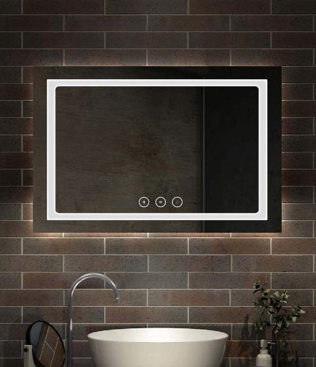 ZUI Space Horizontal LED Lighted Wall Mounted Modern Make Up Bathroom Mirror with Touch Button Z03-B1 48 x 36 in with Anti-Fog and Bluetooth Function