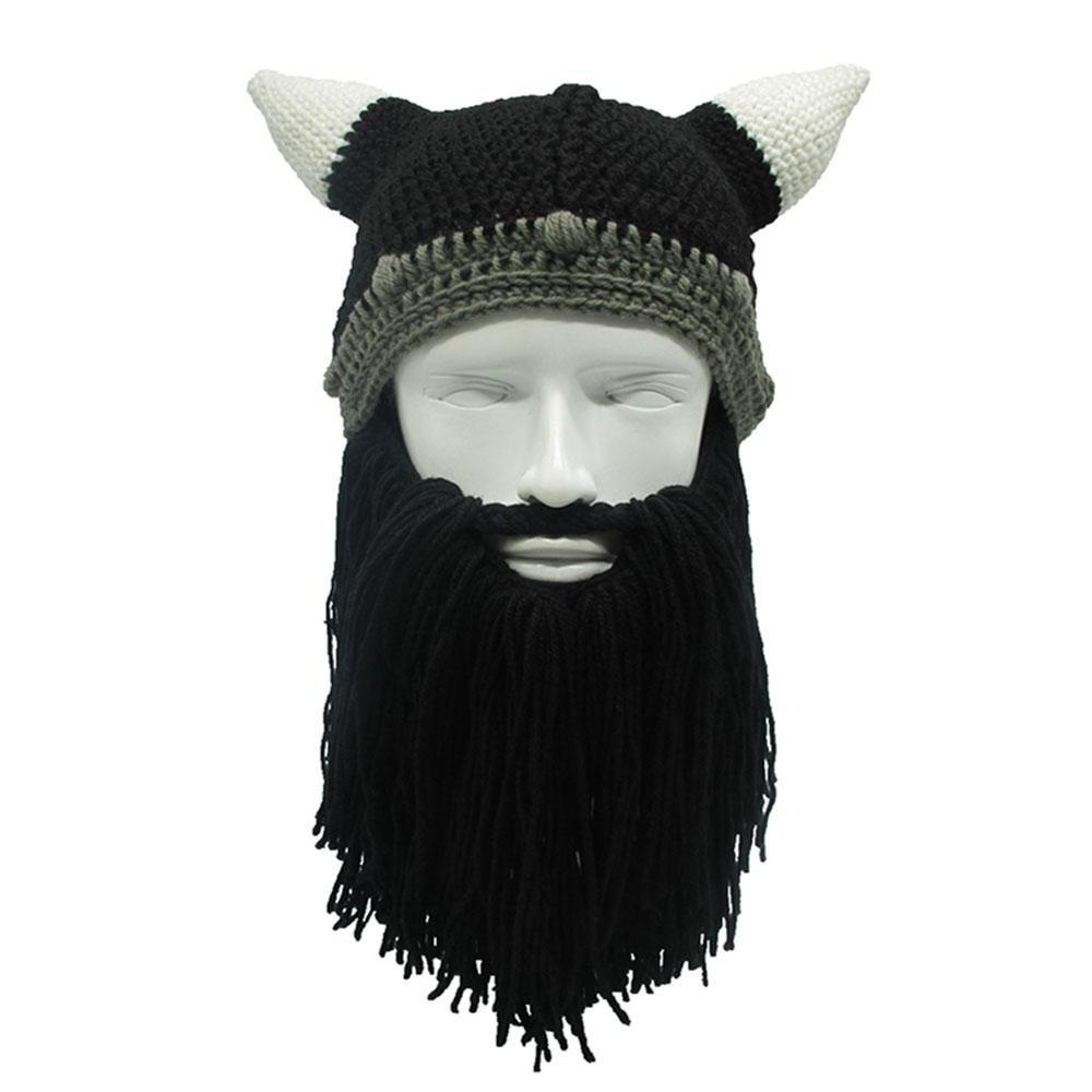 PAWACA para hombre invierno cálido Viking cuernos Knit gorras ...