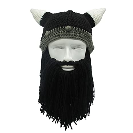 80142070b02 AOLVO Viking Beard Beanie Winter Warm Barbarian Beanie Beard Hats Knitted  Funny Skull Cap with Horn  Amazon.co.uk  Sports   Outdoors