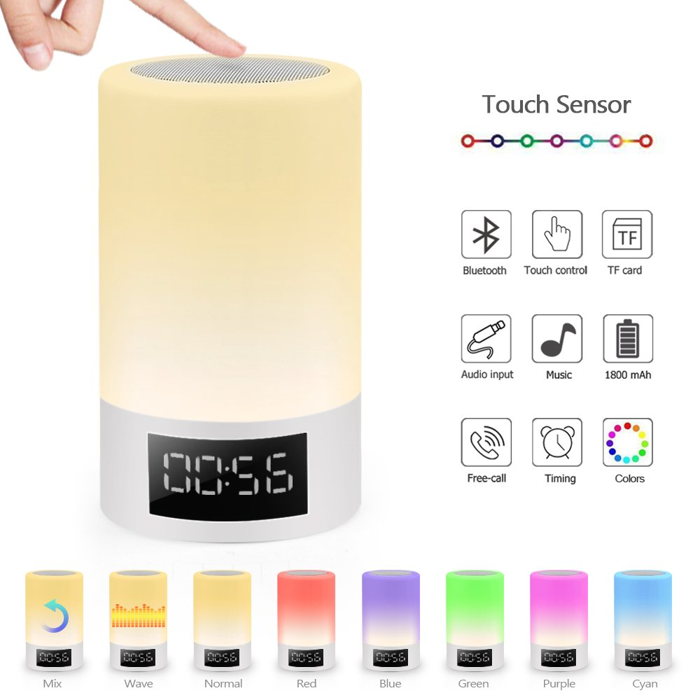 Night Light Speaker - ELEPOWSTAR Dimmable Besides Table Lamp Touch Sensor with Led Time Display 7 Color Changing Mode Aalrm Clock ,TF Card Slot, Timing Function,AUX-IN,Wireless Speaker (Warm White)
