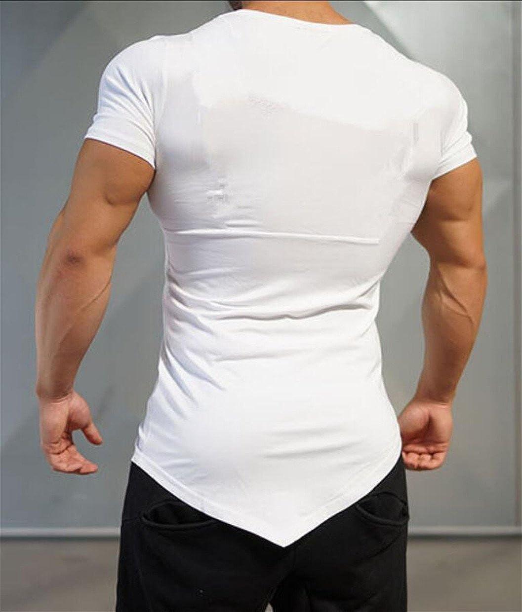 mydeshop Men O-Neck Short Sleeve Asymmetrical-Hem Solid Color Slim T Shirt