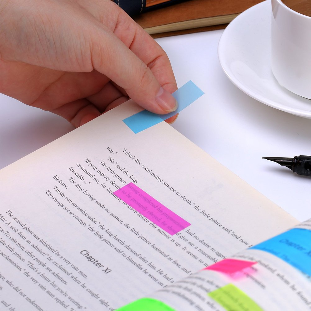 Note adesive fluorescenti SAIYU 1840 Pezzi Etichetta per etichette pagina adesiva per ufficio 1840 pezzi, 8 colori, 20 set casa scuola