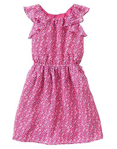 Gymboree Big Girls' Short Sleeve Small Floral Print Dress, Babydoll Pink, 7