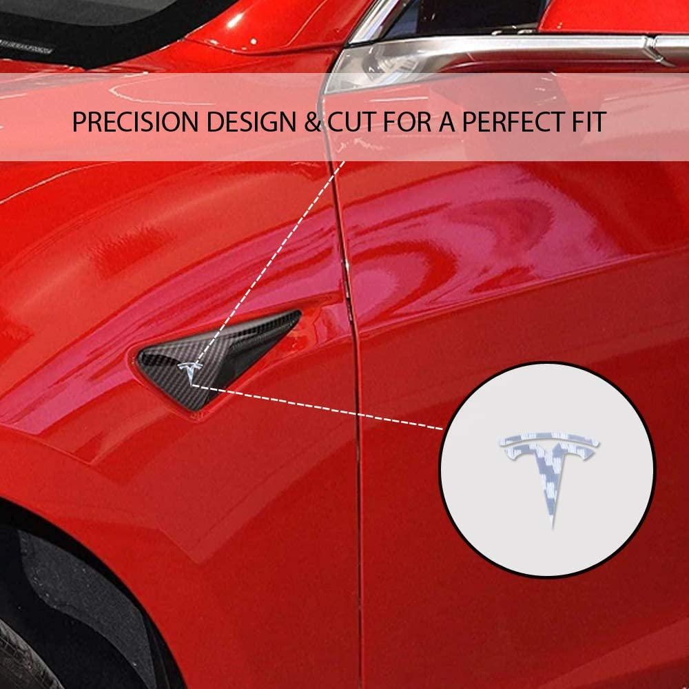 S 4 Pieces - Blue 3 CoolKo Car Front Side Turn Signal Light T Logo Stickers Exterior Decoration Compatible with Model X