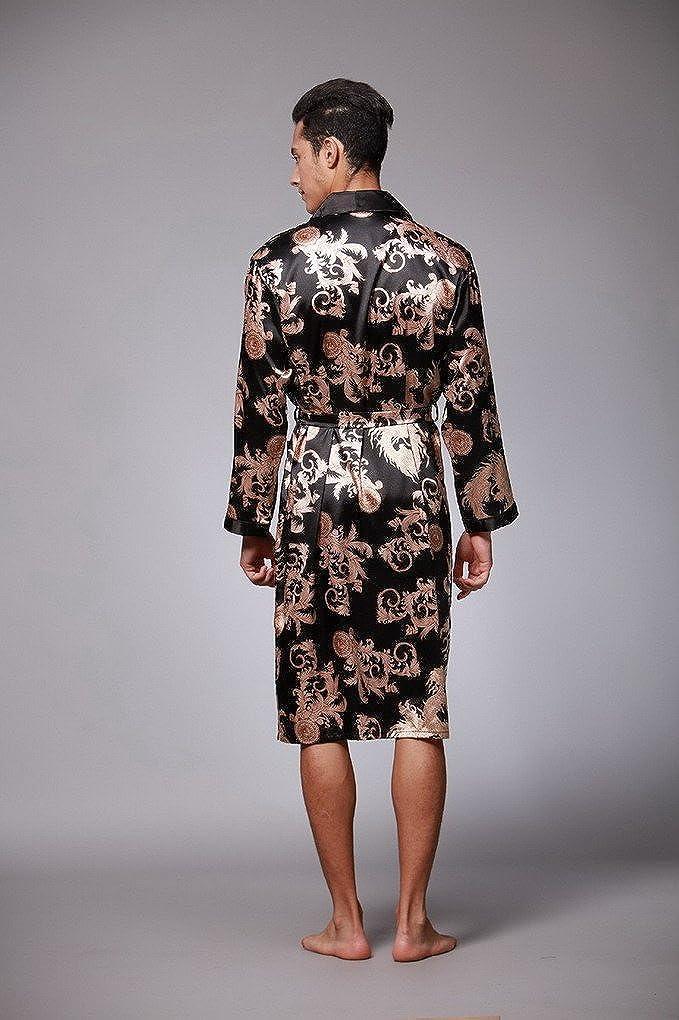 Evedaily Herren Kimono Lange Morgenmantel Satin Robe Bademantel Schlafanzug Homewear mit G/ürtel 5 Farben