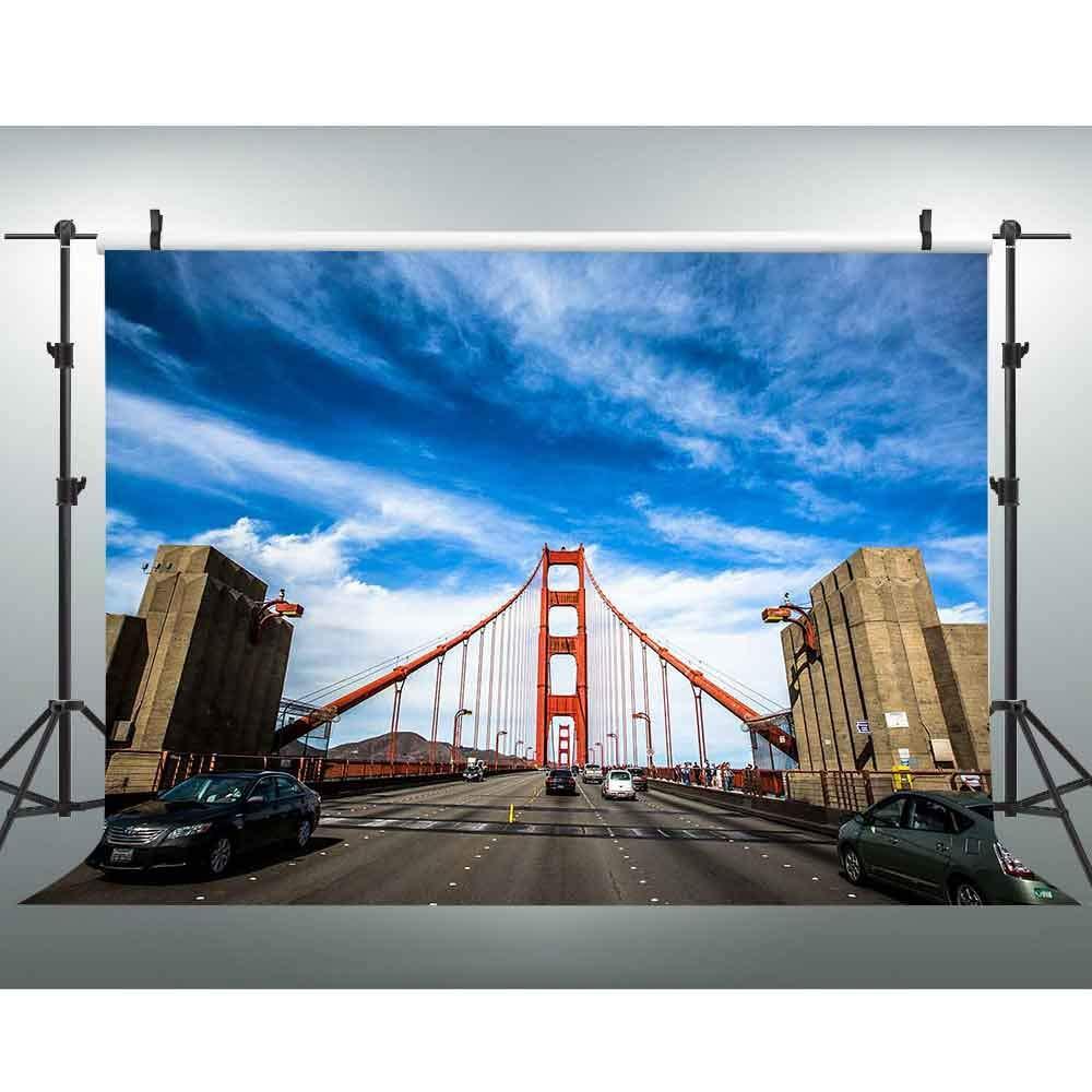 VVM 背景幕 ゴールデンゲートブリッジ サンフランシスコ風景 有名な橋 建物 ブルースカイとホワイトクラウド 写真撮影用背景 スタジオ小道具 7x5フィート XCVV340   B07H29VG5W
