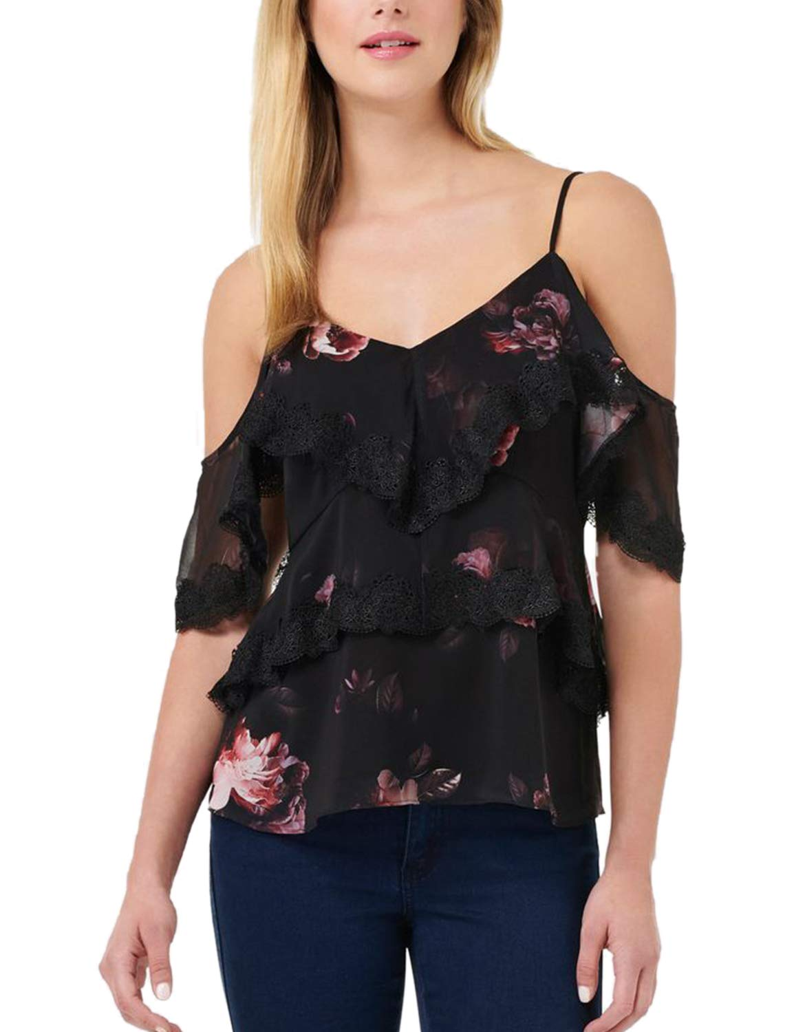 Blooming Jelly Women's Sexy Cold Shoulder Shirt V Neck Spaghetti Strap Floral Top Black