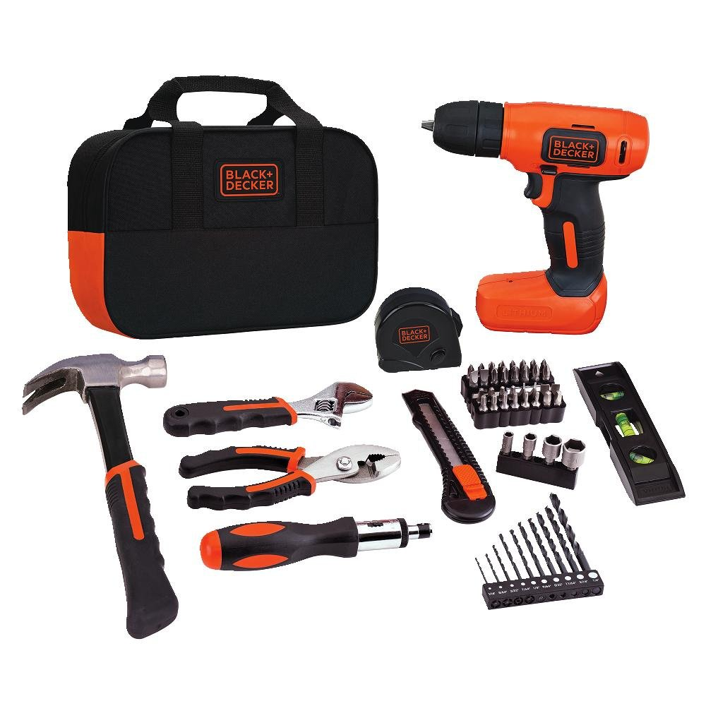 BLACK+DECKER 8V Drill & Home Tool Kit, 54 Piece (BDCD8PK)