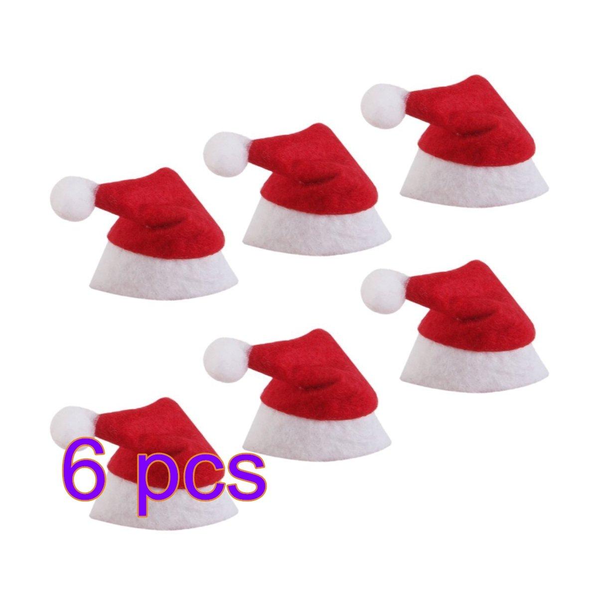 MOCHOAM Lotti da 6 pezzi Cappellini Mini Santa Cappelli decorativi per feste natalizie Lollipop