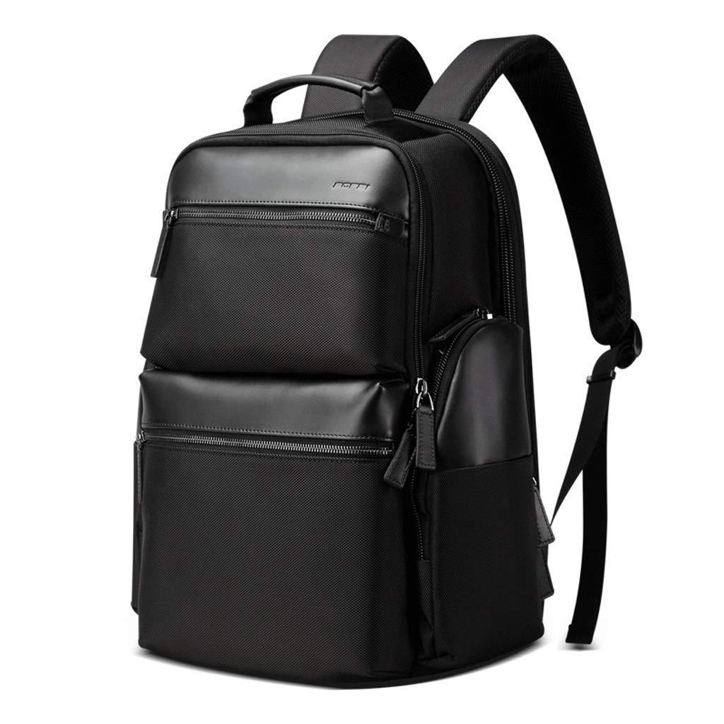15.6インチのコンピュータのための理想的なノートパソコンのバックパック、レジャー旅行バッグを充電するビジネススクールの防水バッグ多機能USB、 カラー:ブラック、サイズ:M   B07PQRT8DB