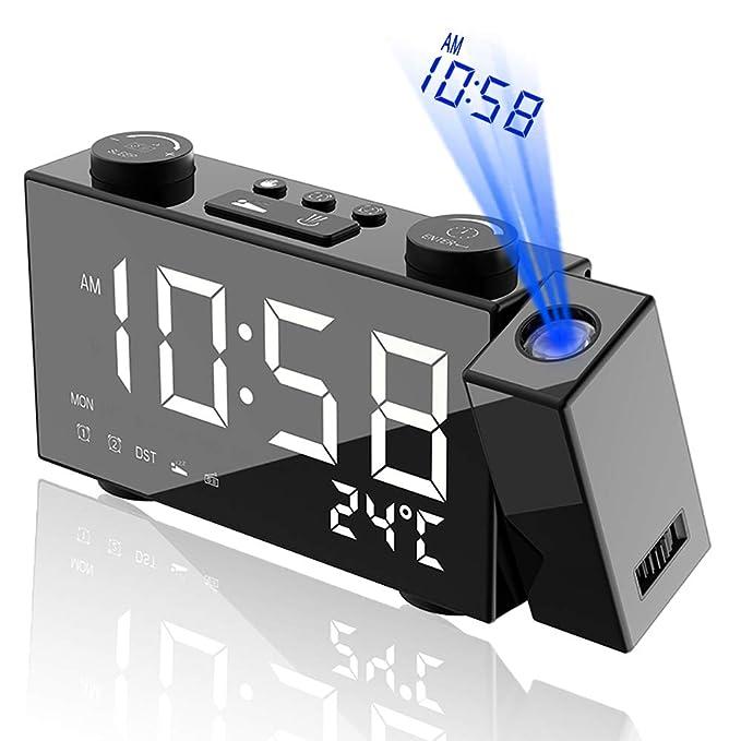 Alfheim Reloj Despertador de proyección - Brillo Ajustable Digital Radio FM - Alarma Doble con función de repetición - Pantalla LED de 6 Pulgadas ...
