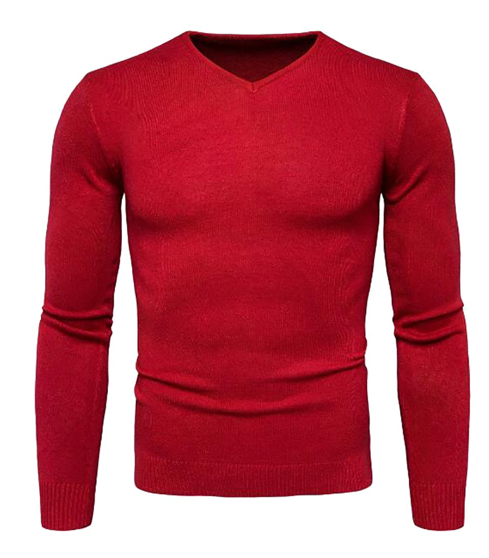 Fensajomon Mens Casual Slim Fitted V Neck Pullover Sweater
