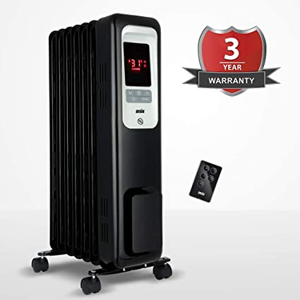 2300W Oil Filled Radiator Heater with 11 Fins and Remote, Portable Electric Heater, Thermostat, 24 Hr Built-in Timer, Child Lock, Overheat, Accidental Tip-Over Protection 3 Year Warranty