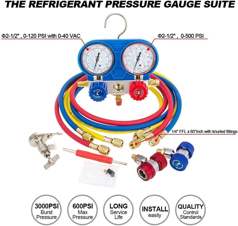 K/ältemittel-Manifold-Messger/ät Set Monteurhilfe Klimaanlage Messingdiagnose 4-Wege-AC-Verteiler-Messger/ät Kit Ladeschl/äuche Kupplungsadapter f/ür R502 R22 R12 R134A mit 1.5 m Ladeschl/äuchen