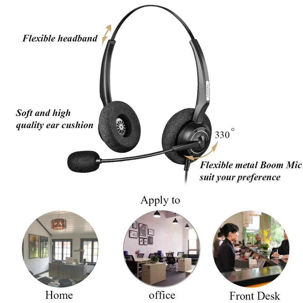 Arama A200DC Professional Phone Headset with Noise Canceling Microphone  ONLY for Cisco IP Phones: 6921, 6941, 7941, 7942, 7971, 8841, 8845, 8851,