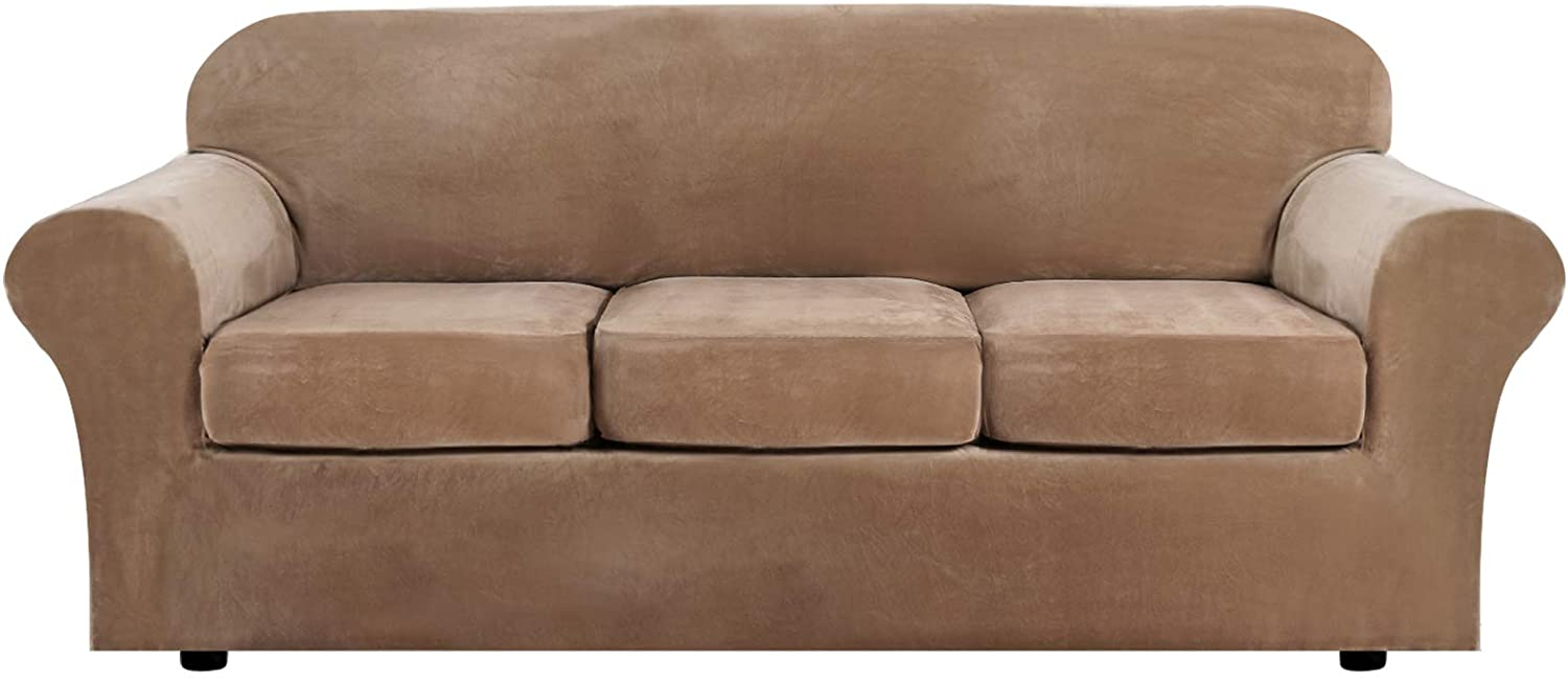 H.VERSAILTEX Modern Velvet Plush 4 Piece High Stretch Sofa Slipcover Strap Sofa Cover Furniture Protector Form Fit Luxury Thick Velvet Sofa Cover for 3 Cushion Couch, Machine Washable(Sofa,Camel)
