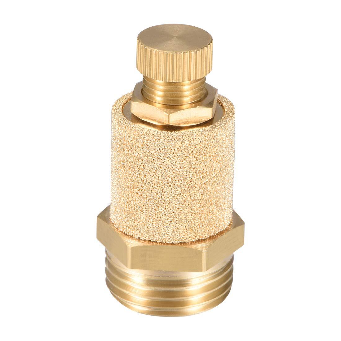 1//8 PT Male Thread 15//32 Hex Sintered Air Pneumatic Bronze Muffler with Brass Body Protruding 10pcs uxcell Brass Exhaust Muffler