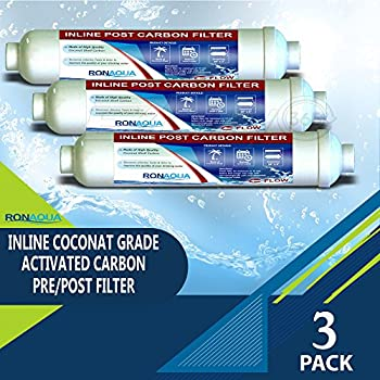 T33 Inline Coconut Grade Activated Carbon Pre/Post Membrane Filter for Taste and Odor Reduction (Set of 3)