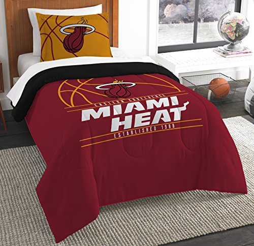 The Northwest Company Officially Licensed NBA Miami Heat Reverse Slam Twin Comforter and Sham