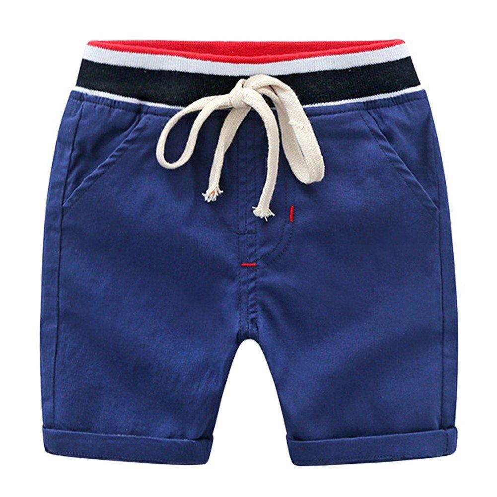 ESHOO Summer Boy Shorts, Kids Casual Cotton Short Pants Trousers with Waist Belt