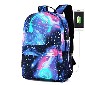 787253493c Luminous Star Sky Printed Shoulders Bag with USB Fashion Casual Daypack  Backpacks Trendy Galaxy Pattern Backpack