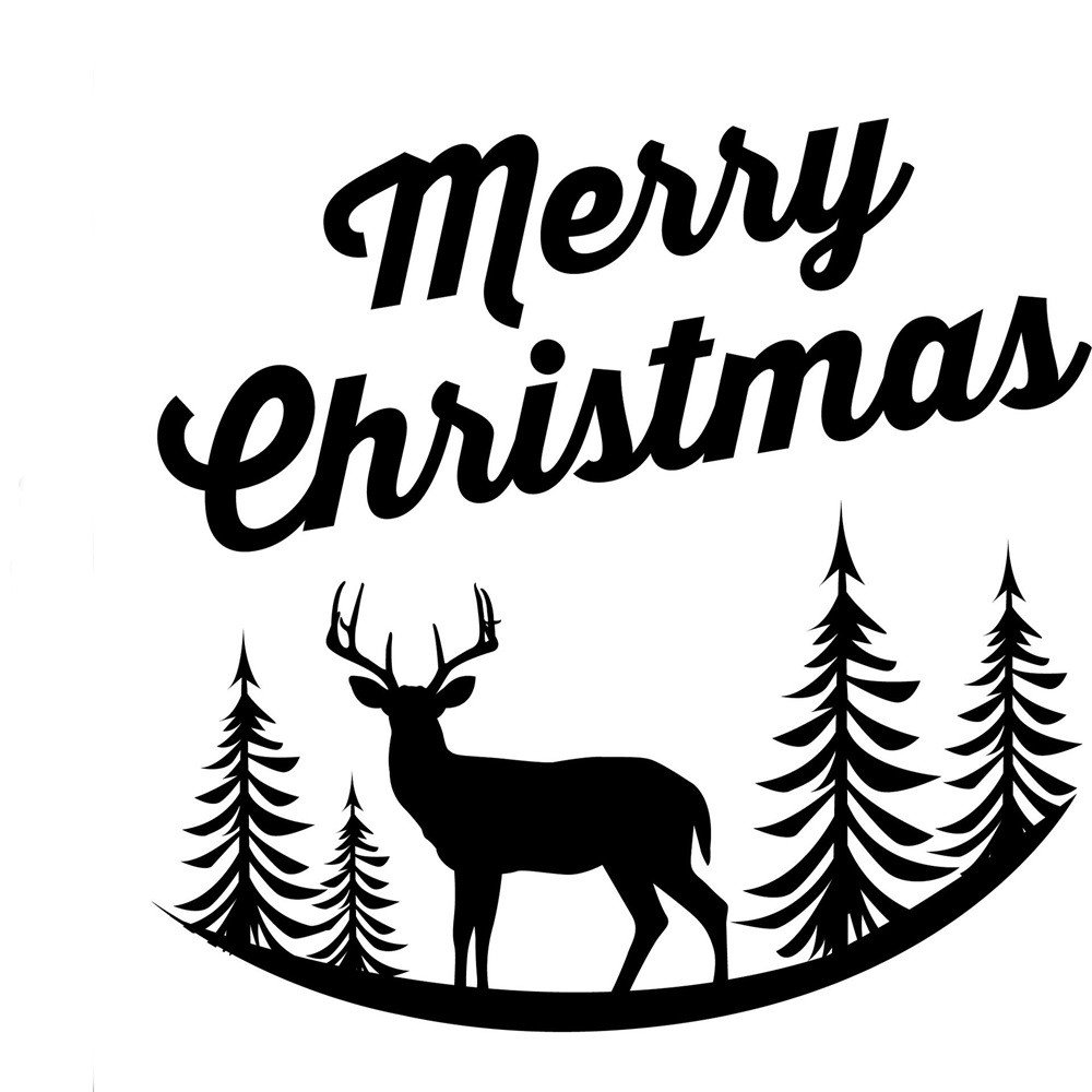 XINDEEK Merry Christmas Decoration Wall Stickers Removable Cute Elk Mural Decal Window Door Shop Glass Treatment Environment Protection (Black)