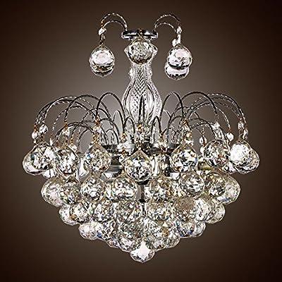 SwanHouse Flush Mount Crystal Chandelier Pendant Ceiling Lighting Silver Modern KTR-D-3L 17x17x16