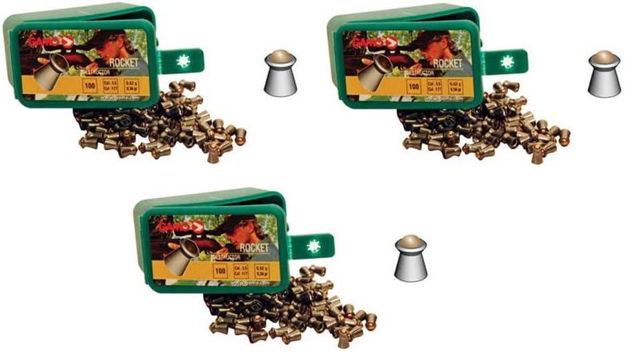 Outletdelocio. Pack 3 balineras de 100 perdigones Gamo Rocket con bola 5,5mm. Modelo 321285