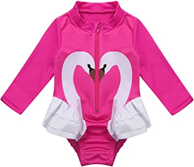 Infant Baby Girls Rashguard Sets Long Sleeve Swimwear Girl Swan Swimsuit UPF50+