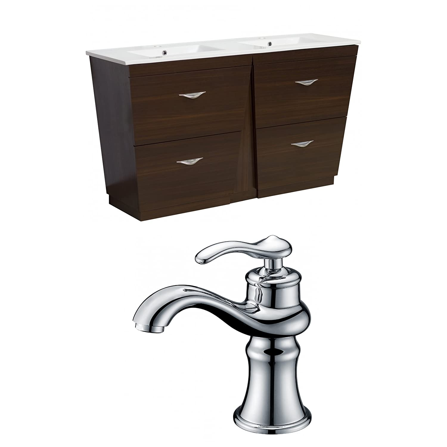 "high-quality Jade Bath JB-9051 60"" W x 18.5"" D Plywood-Melamine Vanity Set with Single Hole CUPC Faucet, Wenge"