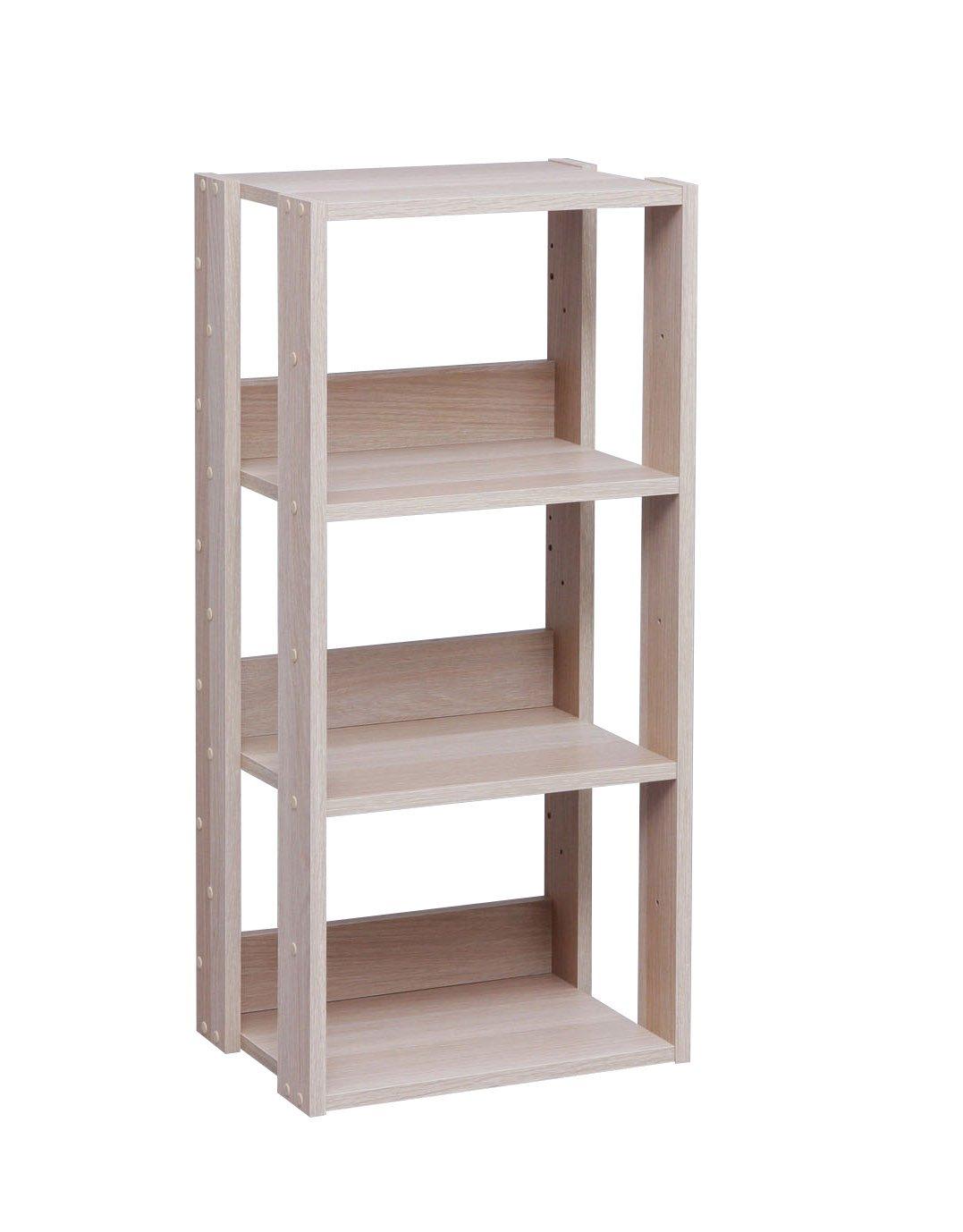IRIS USA 3-Tier Open Wood Bookshelf, Light Brown