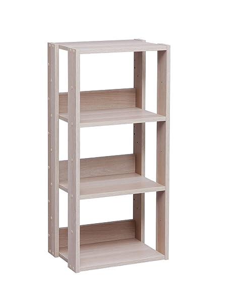 IRIS USA 3 Tier Open Wood Bookshelf Light Brown