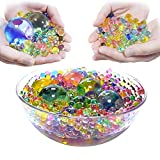 U-Goforst Water Beads Pack (50000 Beads /15Large Jumbo Beads /10 Balloons) Rainbow Mix Kids Water Gel Beads, Jelly Water Growing Balls for Spa Refill, Kids Tactile Sensory Toys, Plants Vase, Party
