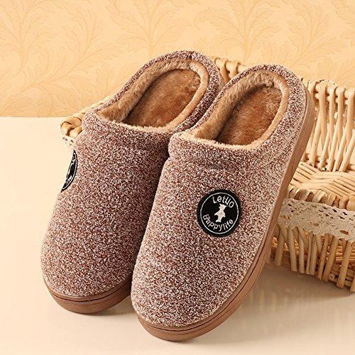 Icegrey Unisex Zapatillas De Estar Por Casa Moda Hecha Punto Acolchado Suave Polar marrón