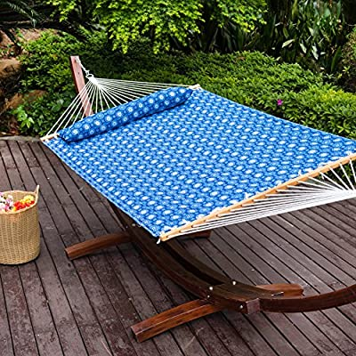 Lazy Daze Hammocks Quilted Fabric Hammock with Pillow for Two Person Double Size Spreader Bar Heavy Duty Stylish, Blue Floral - 【SUPER COMFY】The double-layered quilted polyester with inner polyester padding and a polyethylene stuffing head pillow offer superior comfort. No matter it's in summer or winter, this hammock will always be your first choice for relaxation. 【SUPER DURABILITY】Handcrafted polyester ropes add character and authenticity, and thickness of the end cords contribute greatly to the balance and strength of the hammock. Lay in the hammock with no concern ever. 【SUPER LOOK】55 inches durable Hardwood spreader bar with powder coated in an oil rubbed finish protects from rot, mold or mildew, making it more stable and stylish as well as maximizing style. Believe in us, whoever sees this hammock will envy you. - patio-furniture, patio, hammocks - 61QLIARgDZL. SS400  -