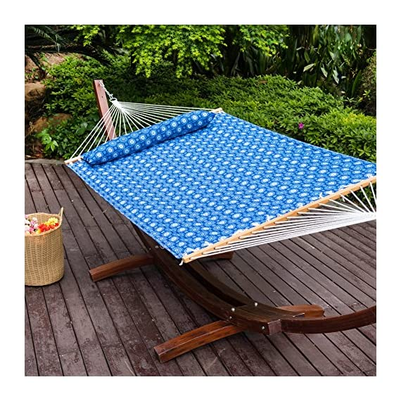 Lazy Daze Hammocks Quilted Fabric Hammock with Pillow for Two Person Double Size Spreader Bar Heavy Duty Stylish, Blue Floral - 【SUPER COMFY】The double-layered quilted polyester with inner polyester padding and a polyethylene stuffing head pillow offer superior comfort. No matter it's in summer or winter, this hammock will always be your first choice for relaxation. 【SUPER DURABILITY】Handcrafted polyester ropes add character and authenticity, and thickness of the end cords contribute greatly to the balance and strength of the hammock. Lay in the hammock with no concern ever. 【SUPER LOOK】55 inches durable Hardwood spreader bar with powder coated in an oil rubbed finish, making it more stable and stylish as well as maximizing style. Believe in us, whoever sees this hammock will envy you. - patio-furniture, patio, hammocks - 61QLIARgDZL. SS570  -