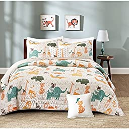 3 Piece Kids Multi Jungle Themed Coverlet Twin Set, Playful Zoo Animals, Lion, Elephant, Monkey, Crocodile, Hippopotamus Print, Reversible Bedding, All Over Jungle Fun Graphic, Vibrant Colors