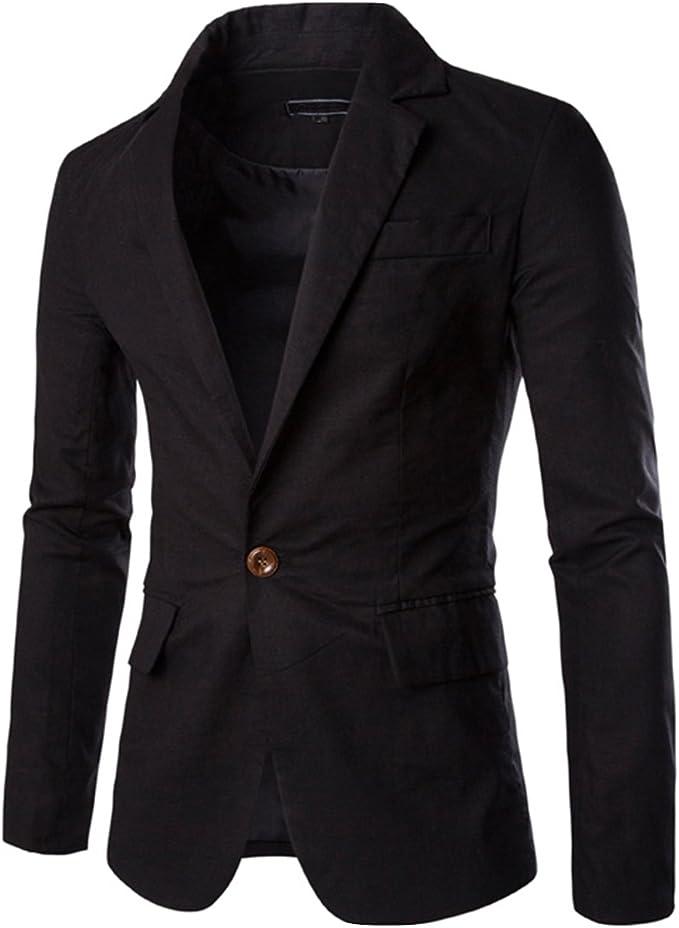 Amazon.com: Earlish Blazer chaqueta deportiva de lino sólido ...