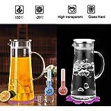 carafe en verre,boqo verre borosilicate et acier inoxydable couvercle et pichet,cruche à eau,résistant à la chaleur 1500 ml