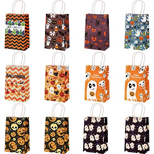 Cute Halloween Gift Bags (12 Pieces Halloween Paper Gift Bags Trick or Treat Goody Gags Treat Candy Bags with Handle for Halloween Party Gifts Supplies, 9)