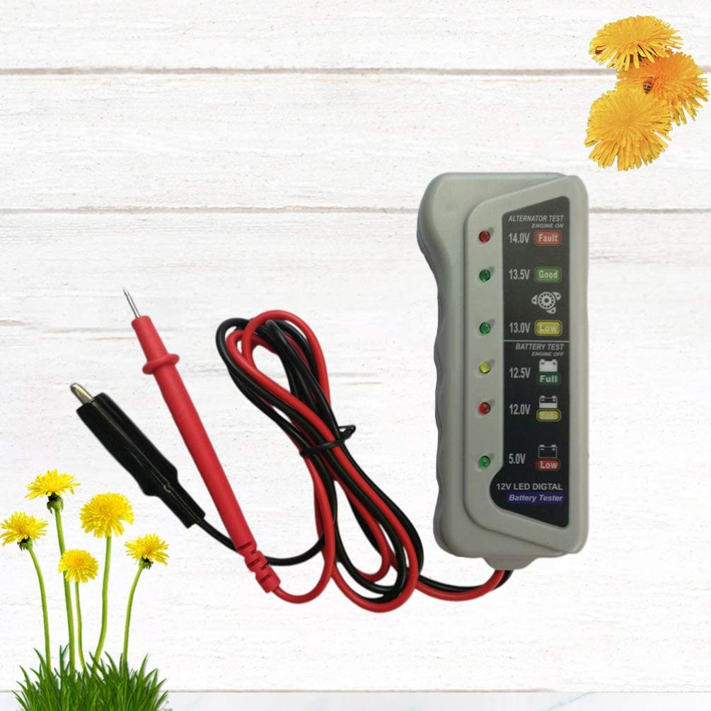 Garneck 12 V Num/érique Testeur de Batterie Syst/ème de Charge Testeur de Batterie Testeur de Batterie Moniteur de Mesure pour pour Les Camions Lourds Voitures Motos